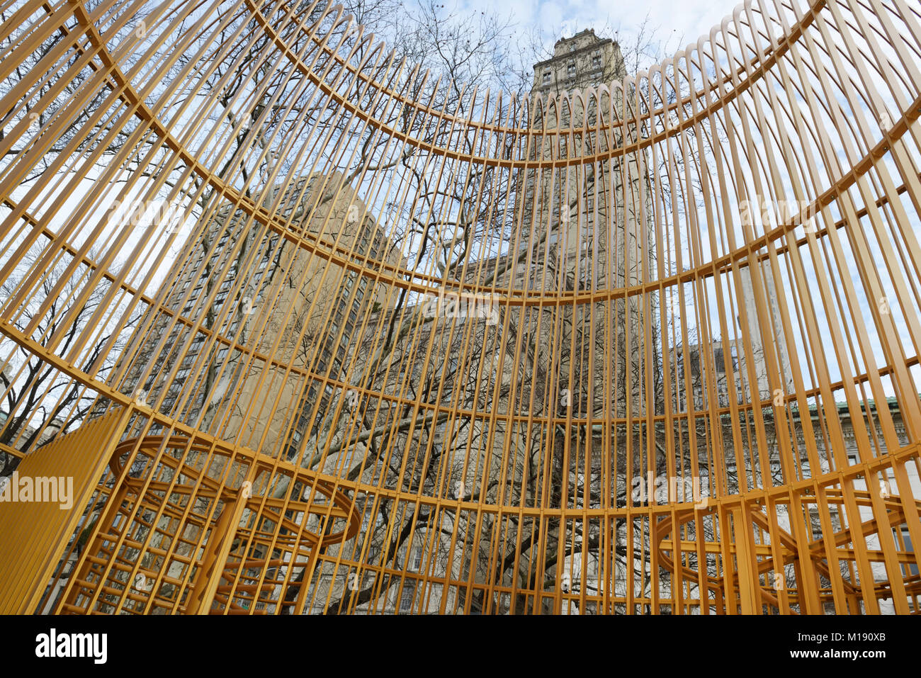 Ai Weiwei sculpture installation in Central Park, Freedman Plaza, NYC, 'Gilded Cage' - Stock Image