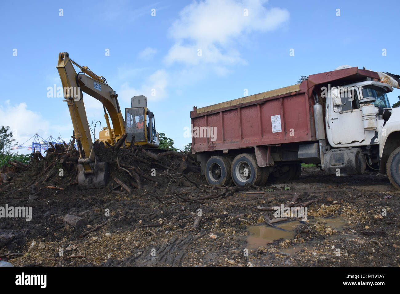 U S  Army Corps of Engineers Debris team works to remove