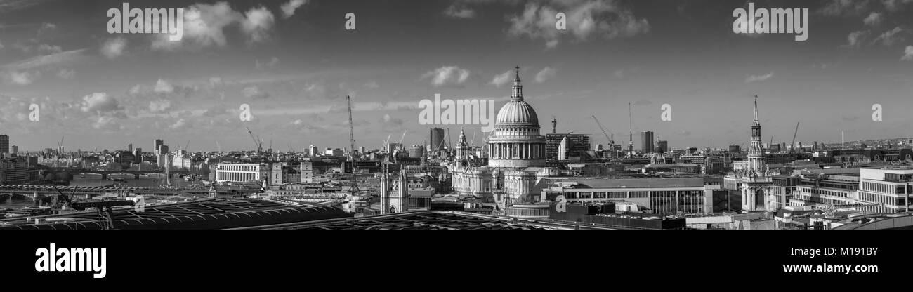 Panoramic view over London towards the iconic dome of St Paul's Cathedral on London's skyline, with views - Stock Image