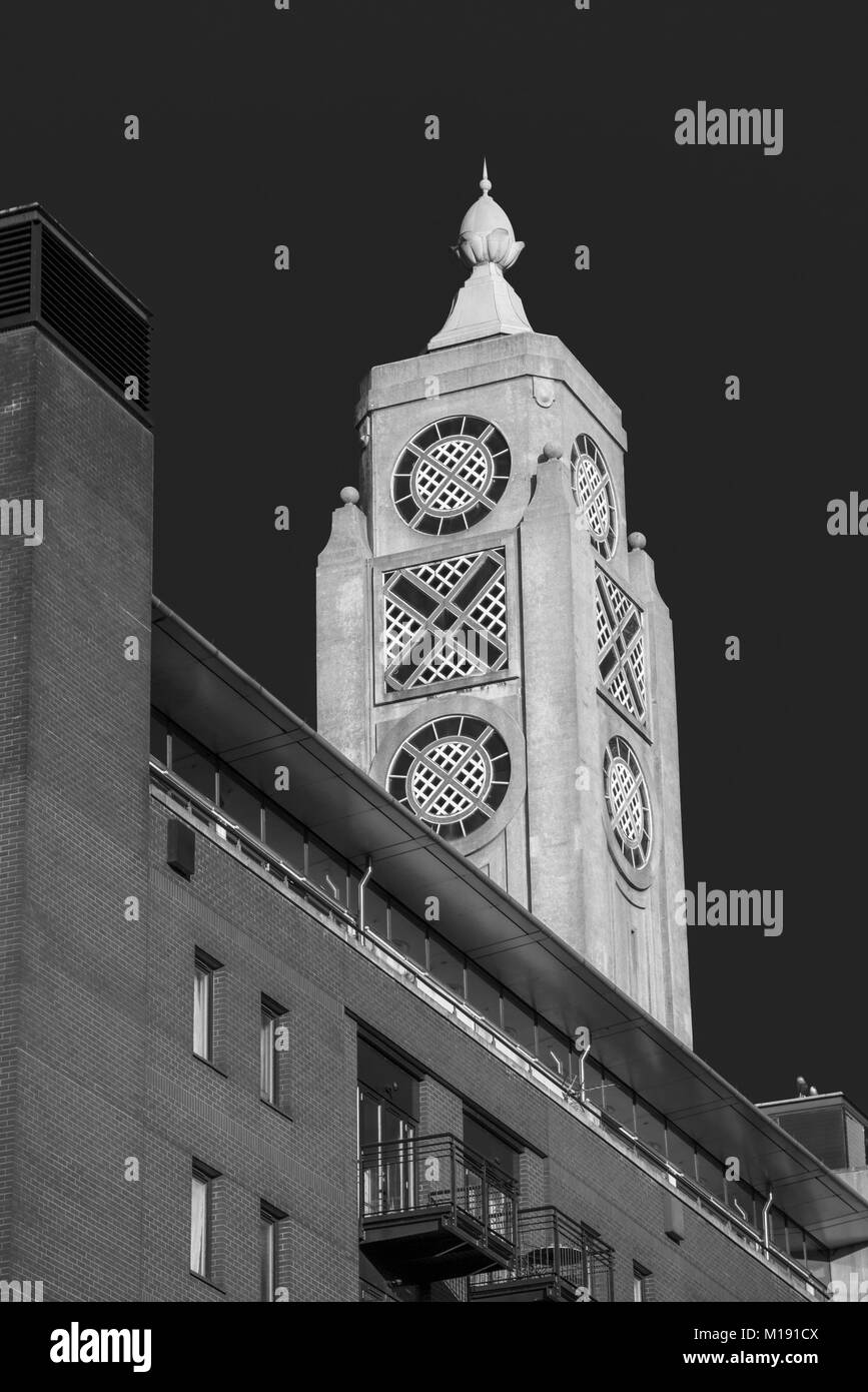 The iconic art deco OXO Tower on the south bank cultural area of the River Thames Embankment, London Borough of - Stock Image