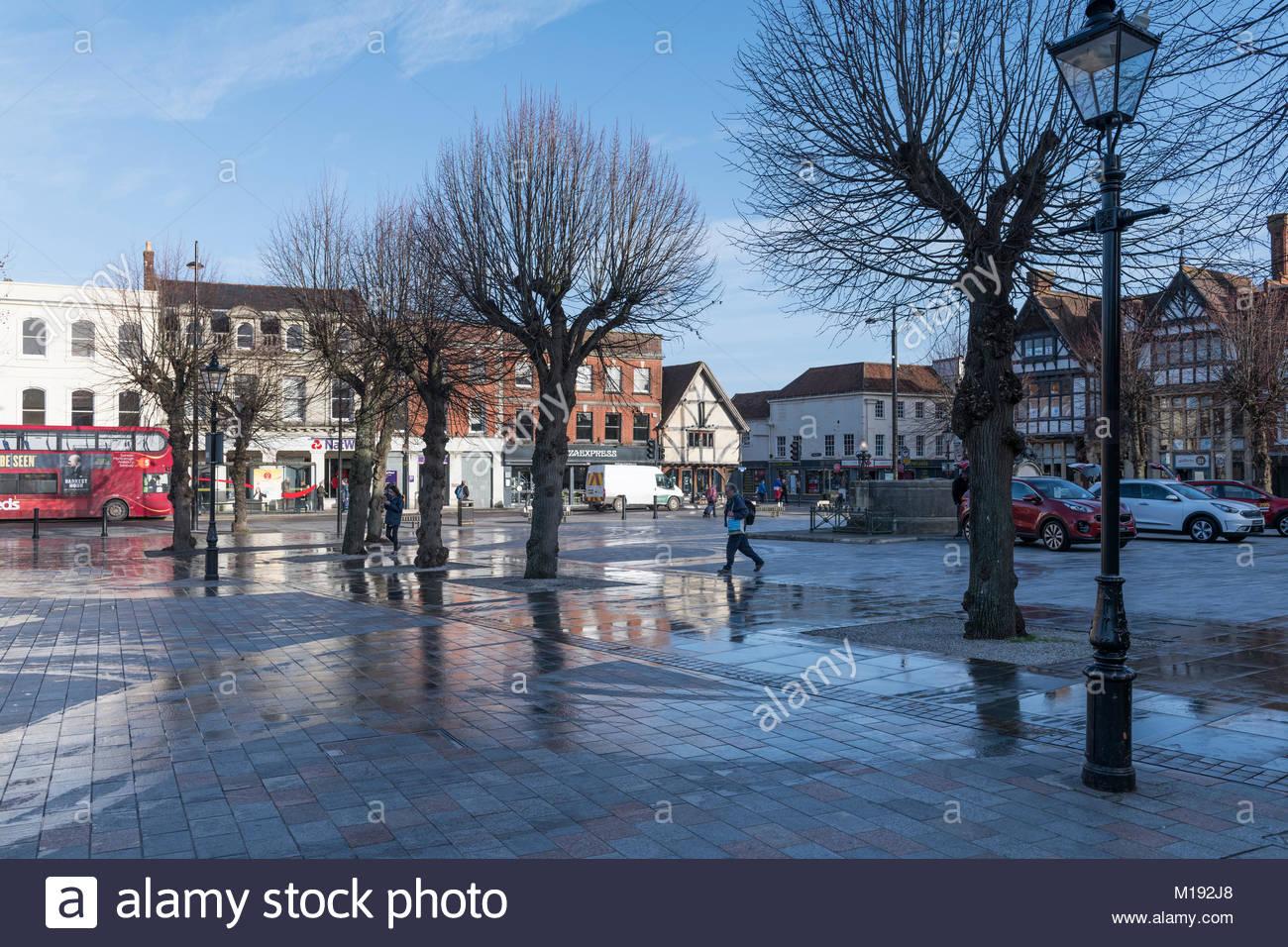 Market Place square, Salisbury, Wiltshire, England, UK - Stock Image