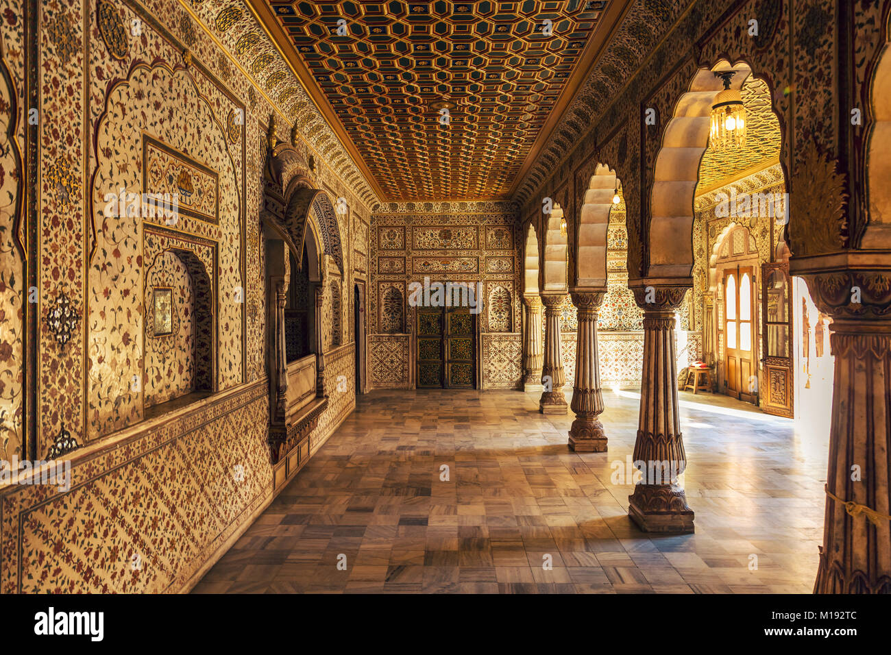 Junagarh Fort Bikaner Rajasthan Royal Palace Interior Architecture Details  With Gold Decoration Artwork.