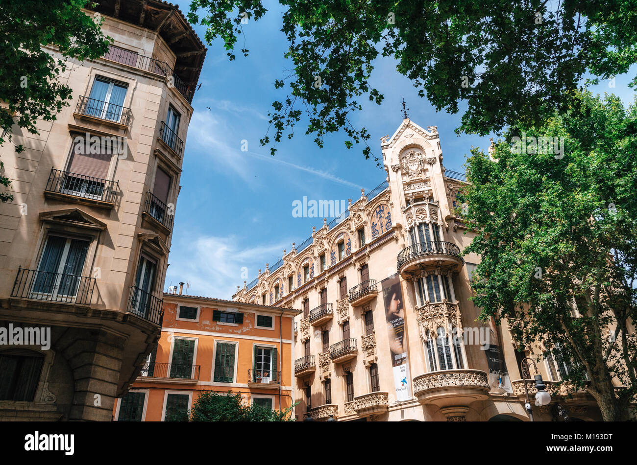 Palma de Mallorca, Spain - May 27, 2016: Modern Mediterranean architecture in Palma, Balearic islands, Spain - Stock Image
