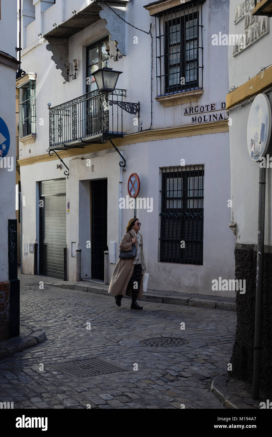 Alleyway in Seville, Andalusia,Spain. - Stock Image