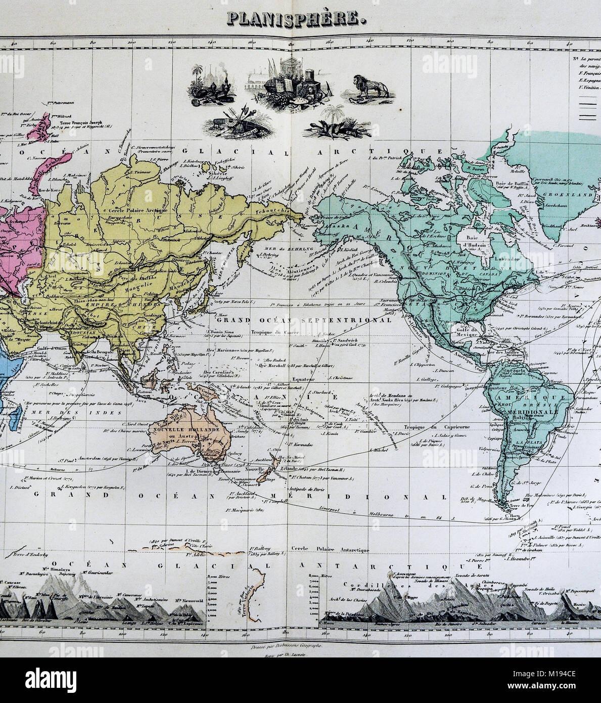 1877 Migeon Map - World Planisphere - Eastern Western - North ...