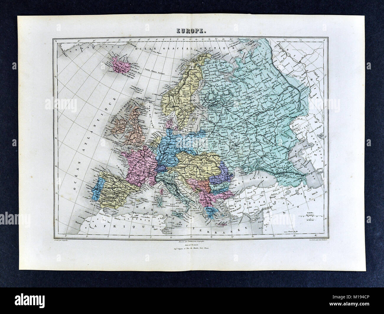 Map Of Spain Portugal And Italy.1877 Migeon Map Europe France Germany Italy Spain Russia Austria