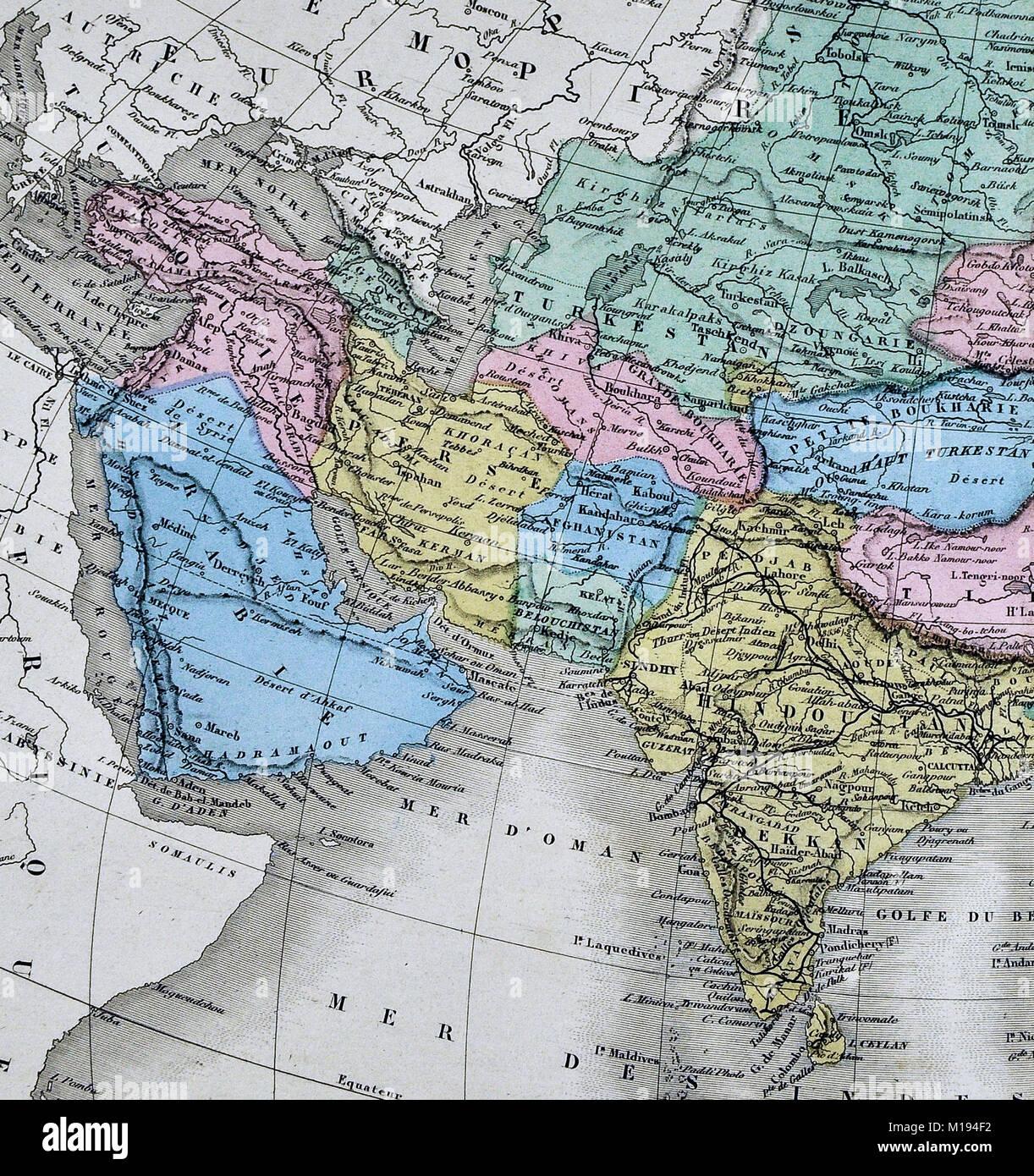 1877 Migeon Map - Western Asia - China Japan India Arabia Mongolia ...