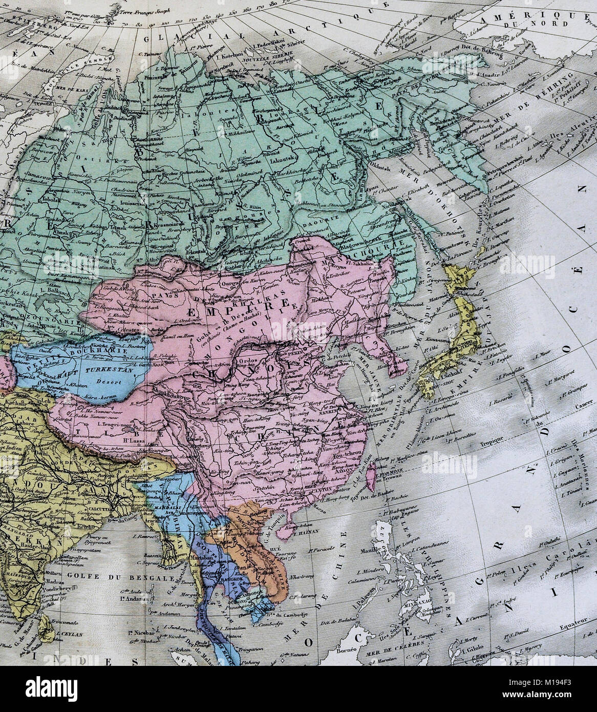 1877 Migeon Map Eastern Asia China Japan India Arabia Mongolia