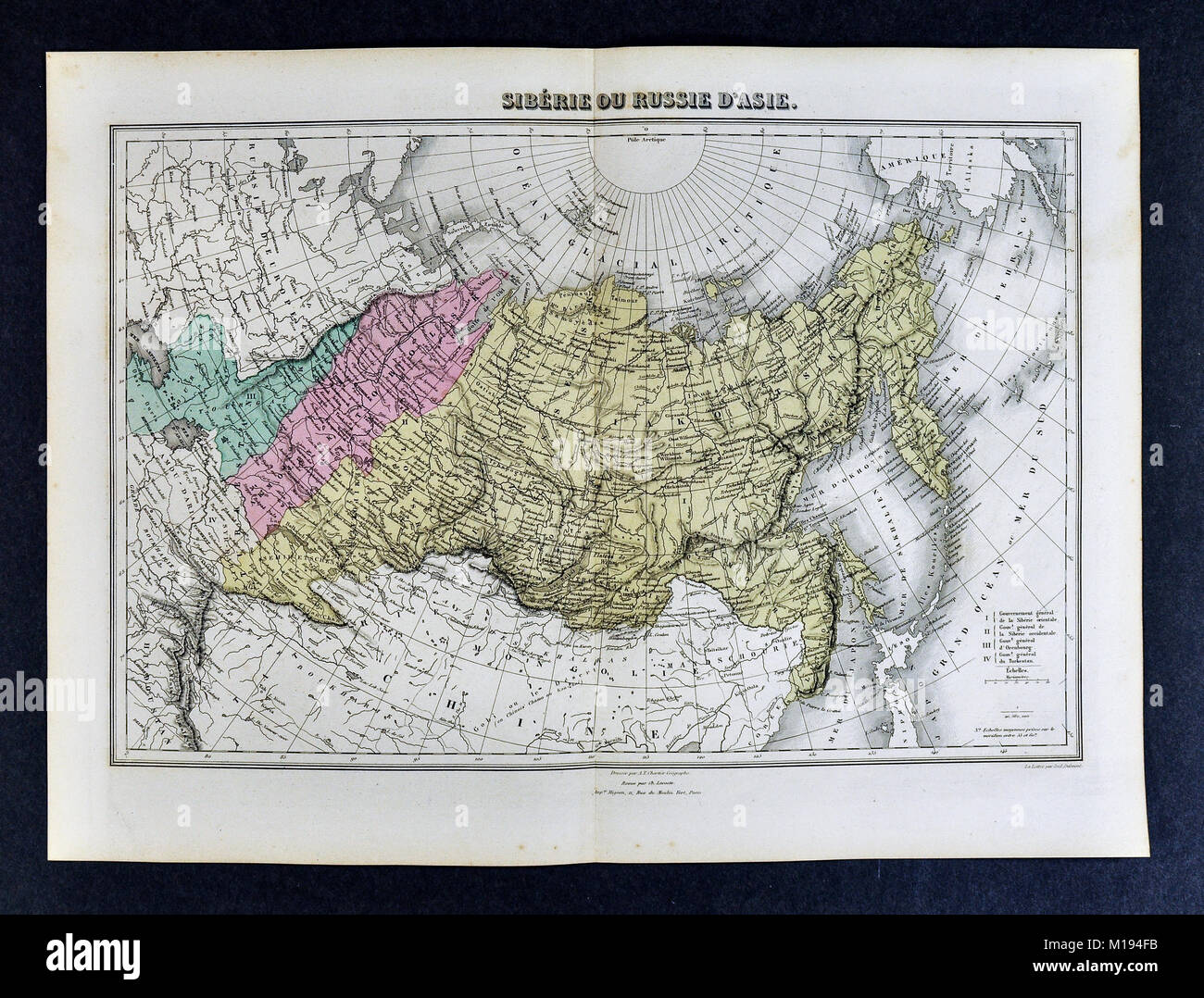 1877 Migeon Map Russia Siberia Asia Arctic Ocean Ural Mountains Stock Photo Alamy