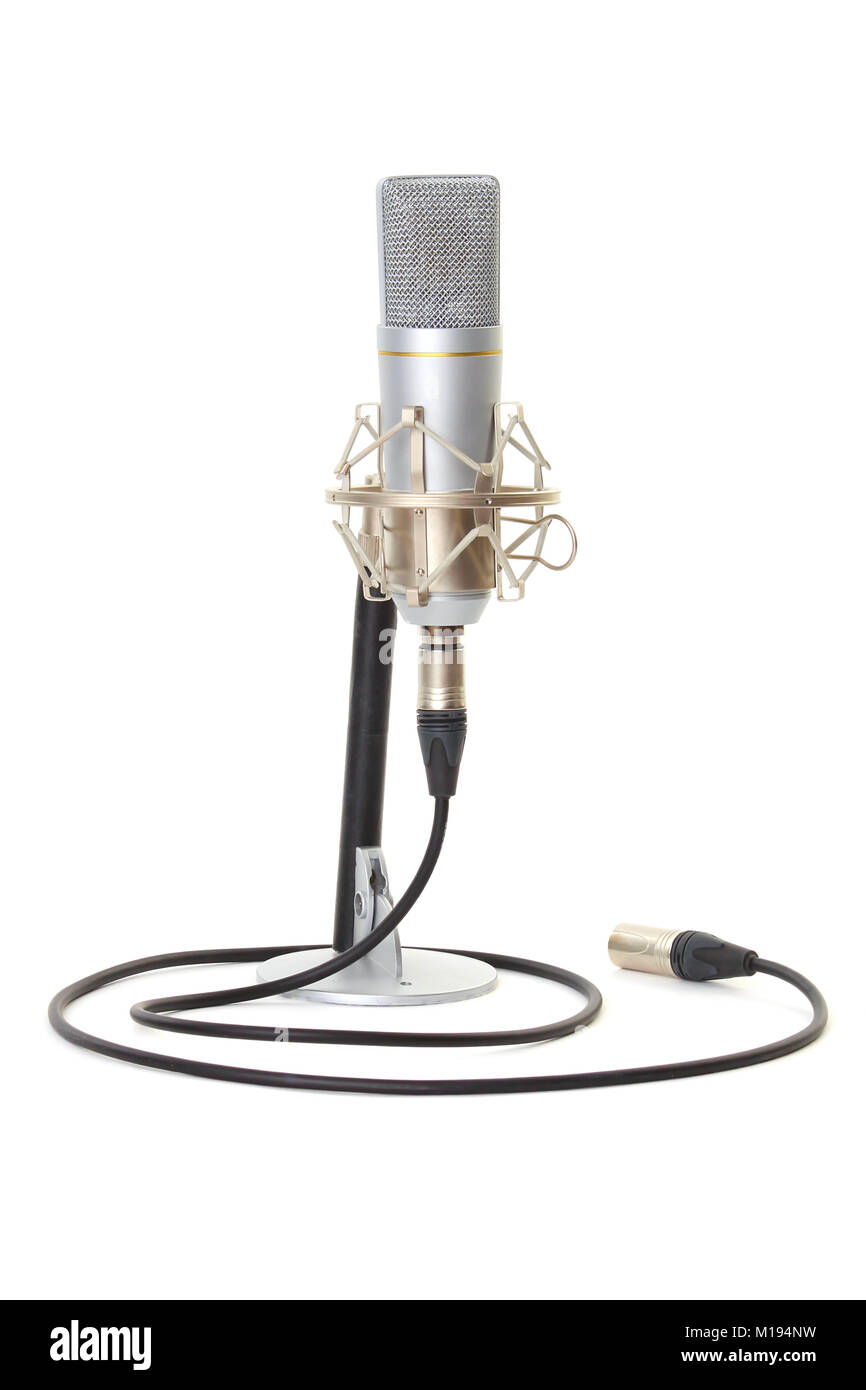 Studio microphone on stand isolated on white background - Stock Image