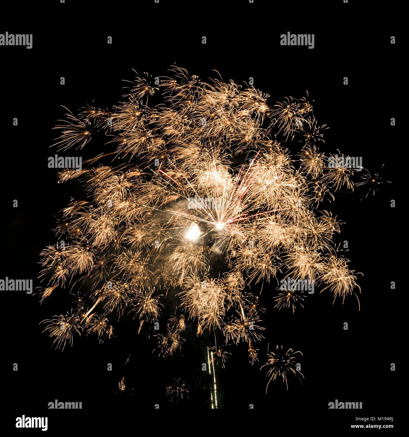 Small free firework display, Britannia Inn, Elterwater, Langdale, Cumbria, UK - Stock Image