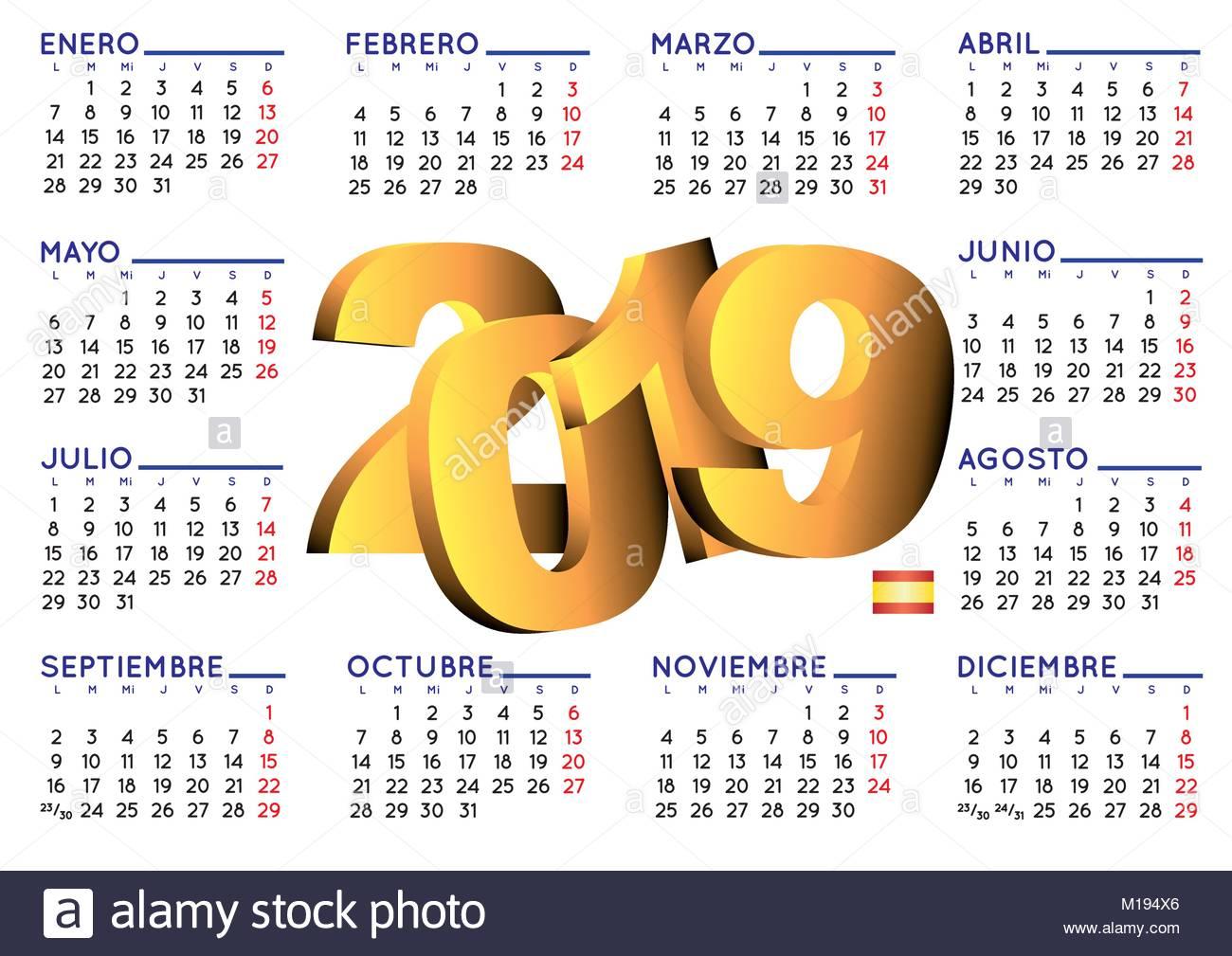 Calendario Vectorizado.Calendario 2019 2019 Elegant Calendar In Spanish Year 2019