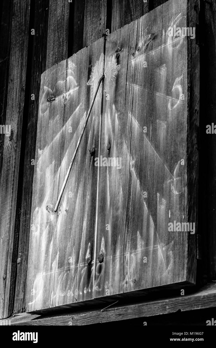 Wooden Sundial, Seurasaari Island, Helsinki, Finland - Stock Image