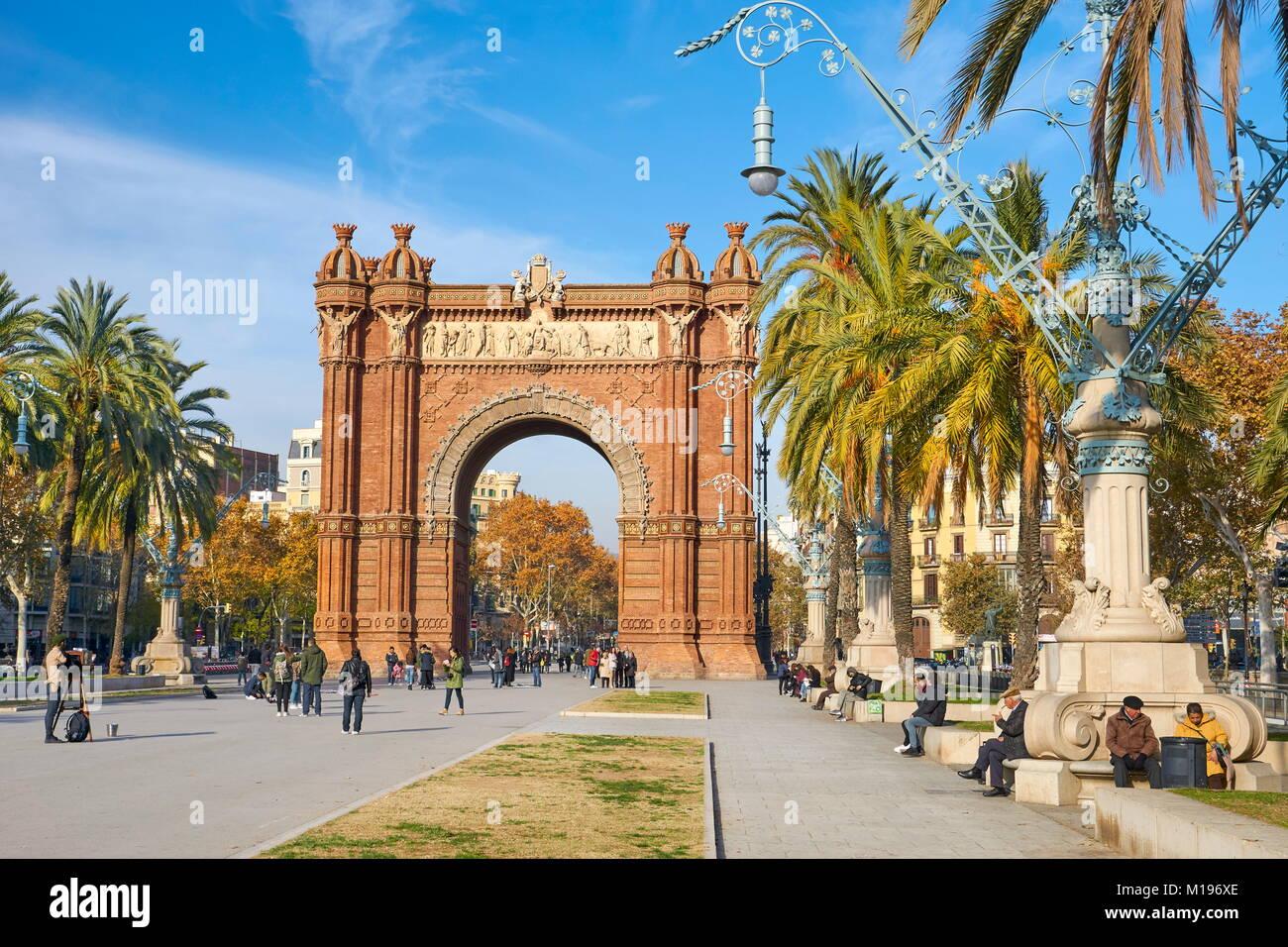 Arc de Triomf or Arco de Triunfo, Barcelona, Catalonia, Spain - Stock Image