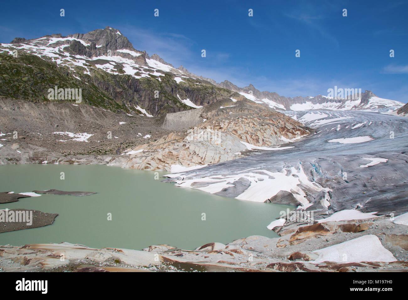 Rhone glacier, source of Rhone river Stock Photo