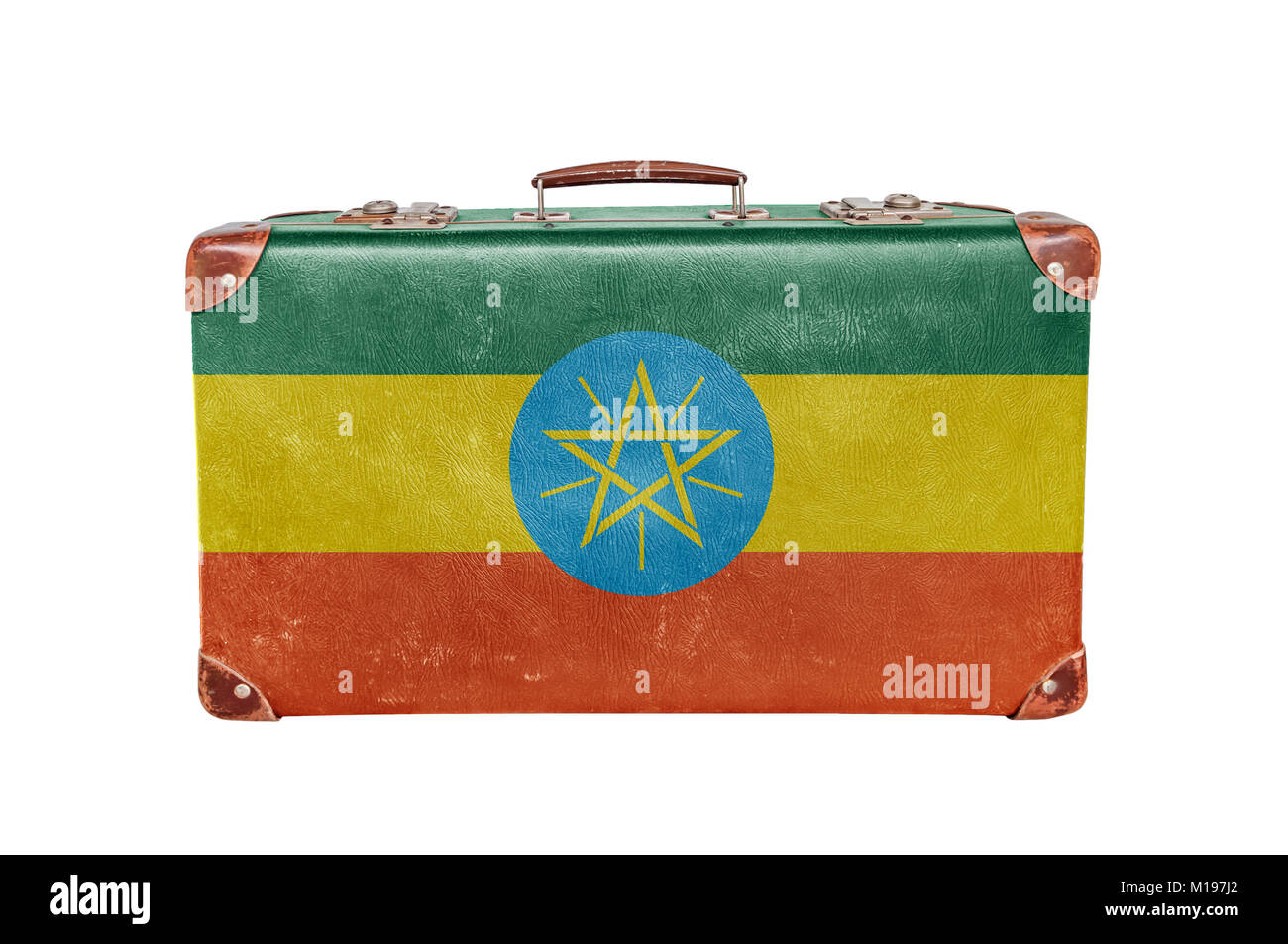 Vintage suitcase with Ethiopia flag isolated on white background - Stock Image