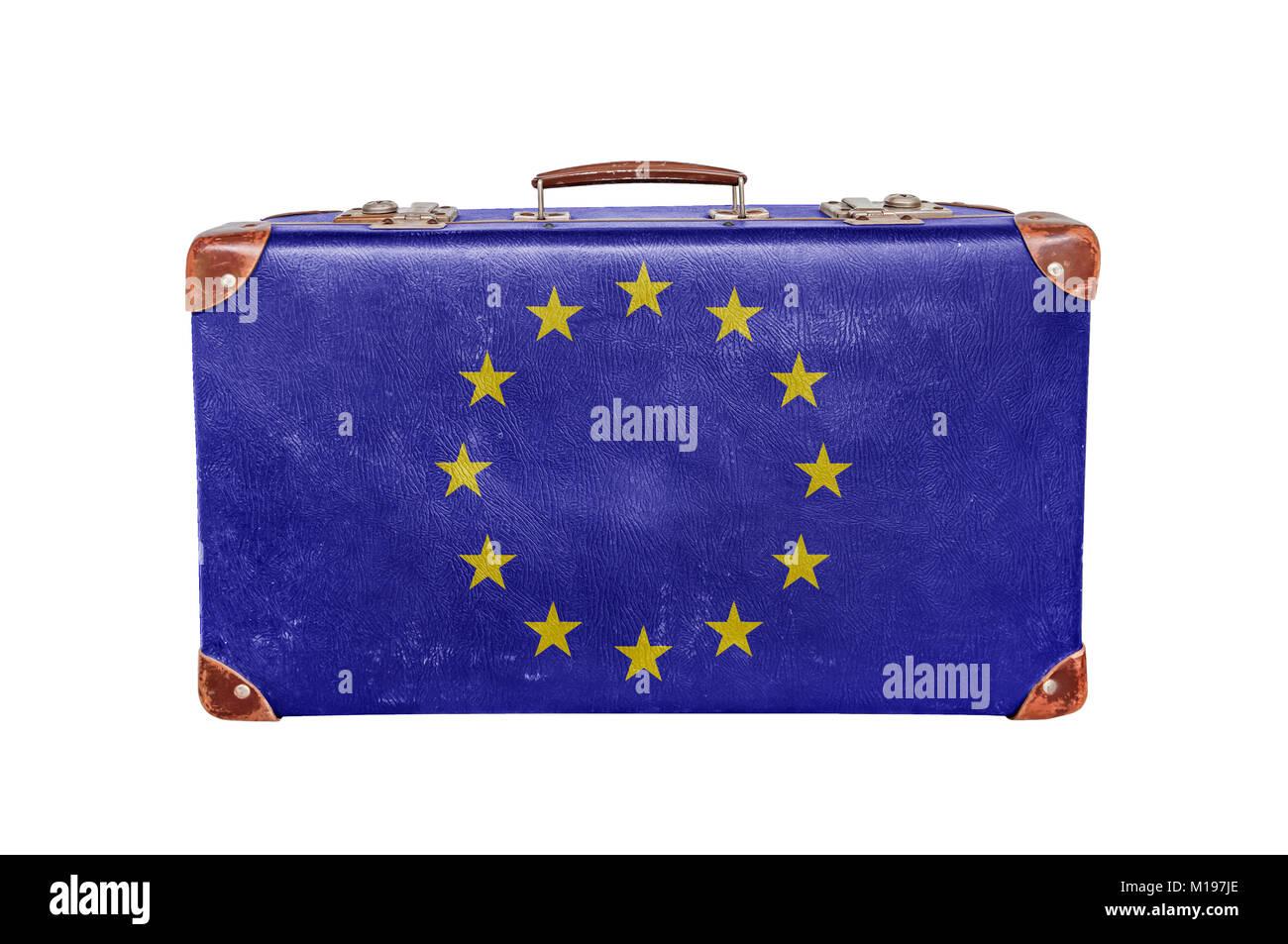 Vintage suitcase with European Union flag isolated on white background - Stock Image