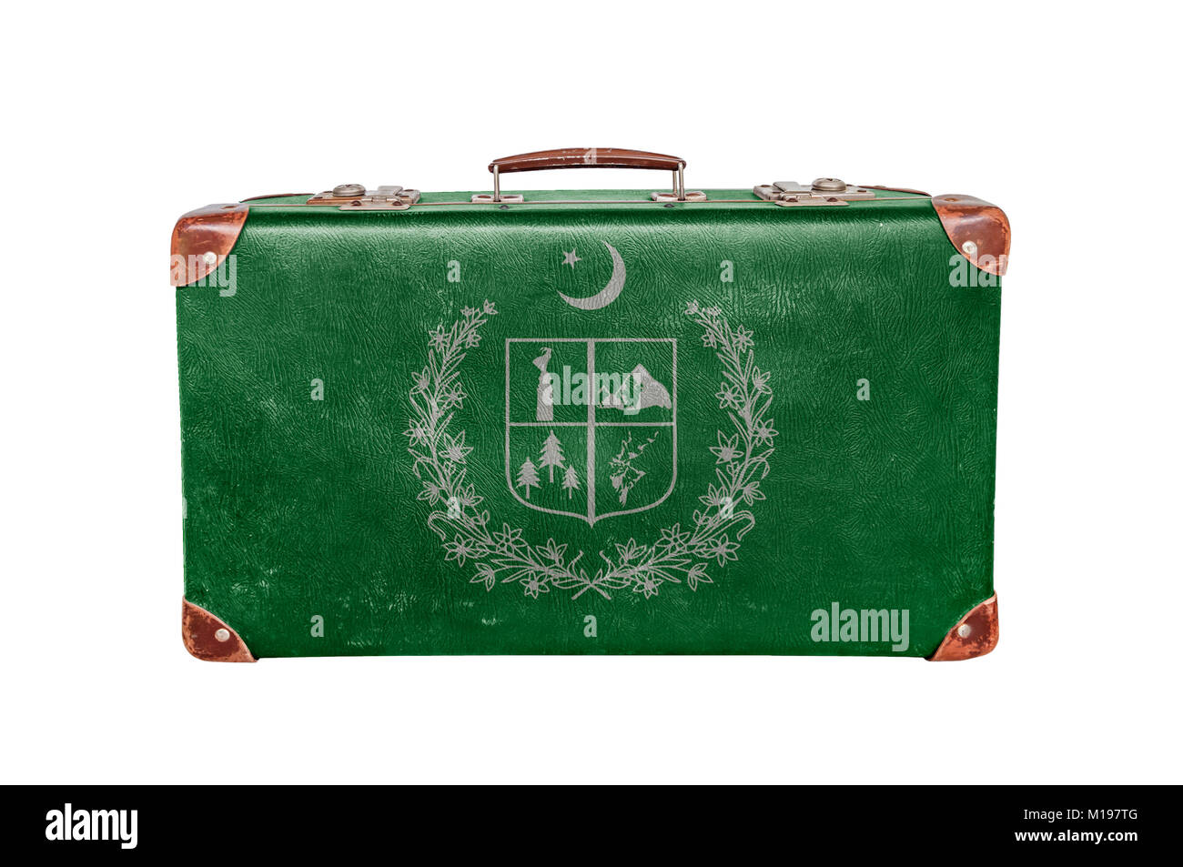 Vintage suitcase with Gilgit Baltistan flag isolated on white background - Stock Image