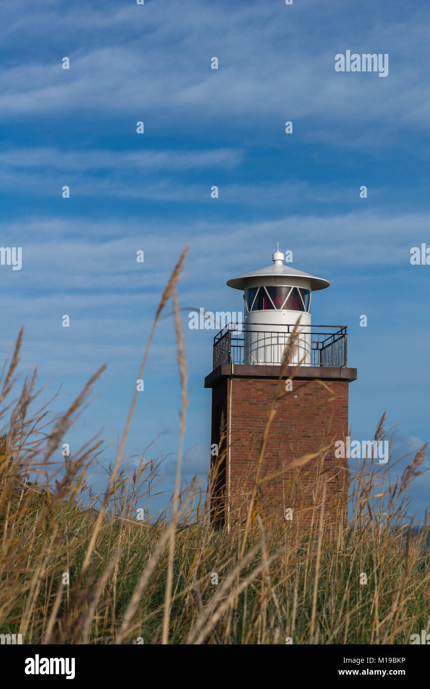 Lighthouse at the beach of  Wyk, island of Föhr, North Sea, UNESCO world natural heritage, North Frisia, Schleswig Stock Photo