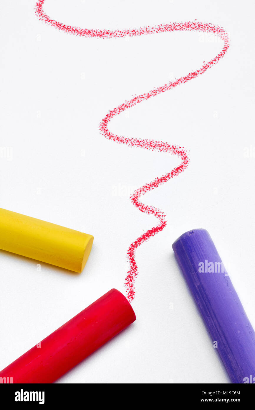 color chalk stroke white background - Stock Image