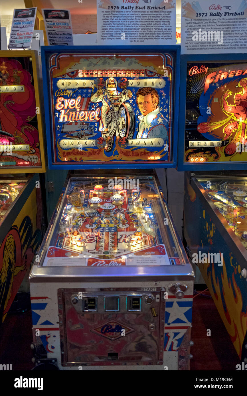 A 1976 Evel Knievel vinatge pinball machine on display  at the Silverball Museum in Delray Beach, Florida, USA. - Stock Image