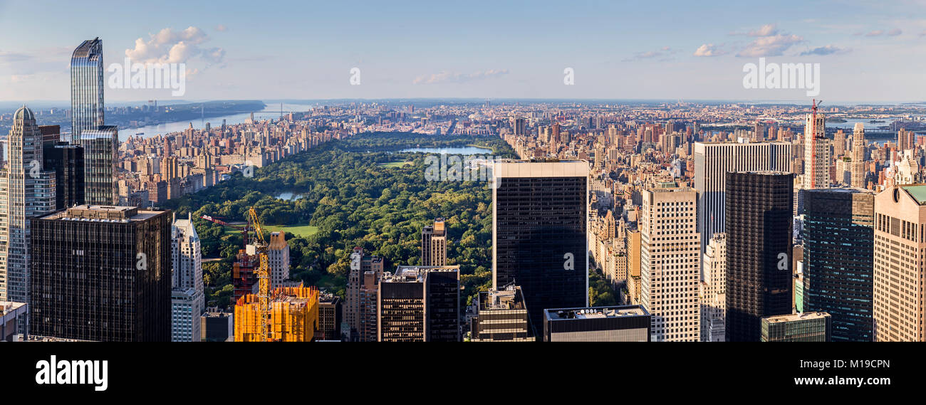 Panoramic Aerial View of Central Park in Ney York - Stock Image