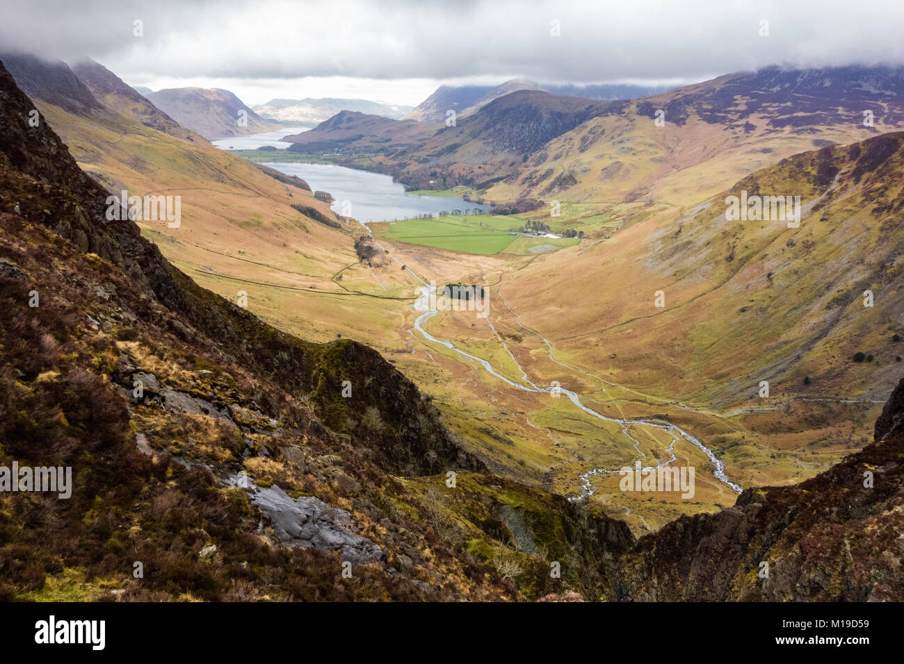 Buttermere and Warnscale Bottom from Green Crag, Haystacks, Lake District, Cumbria, England, UK - Stock Image