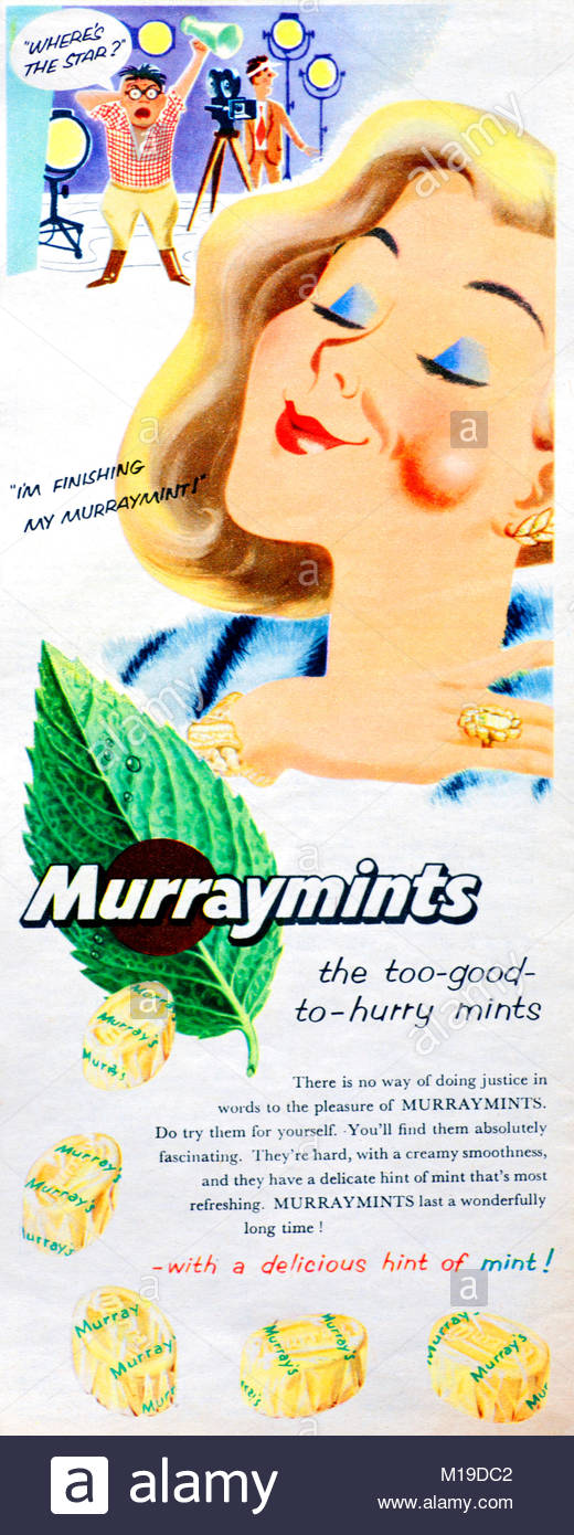 Murraymints sweets vintage advertising 1955 - Stock Image