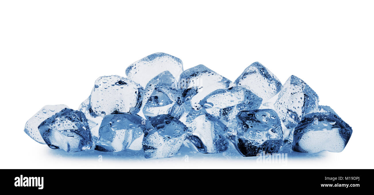 Ice cubes with water drops isolated on white background - Stock Image