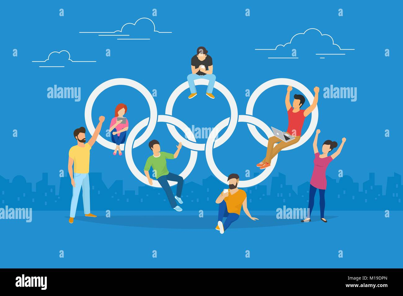 Vector illustration of Olympic rings and happy fans watching live stream - Stock Vector