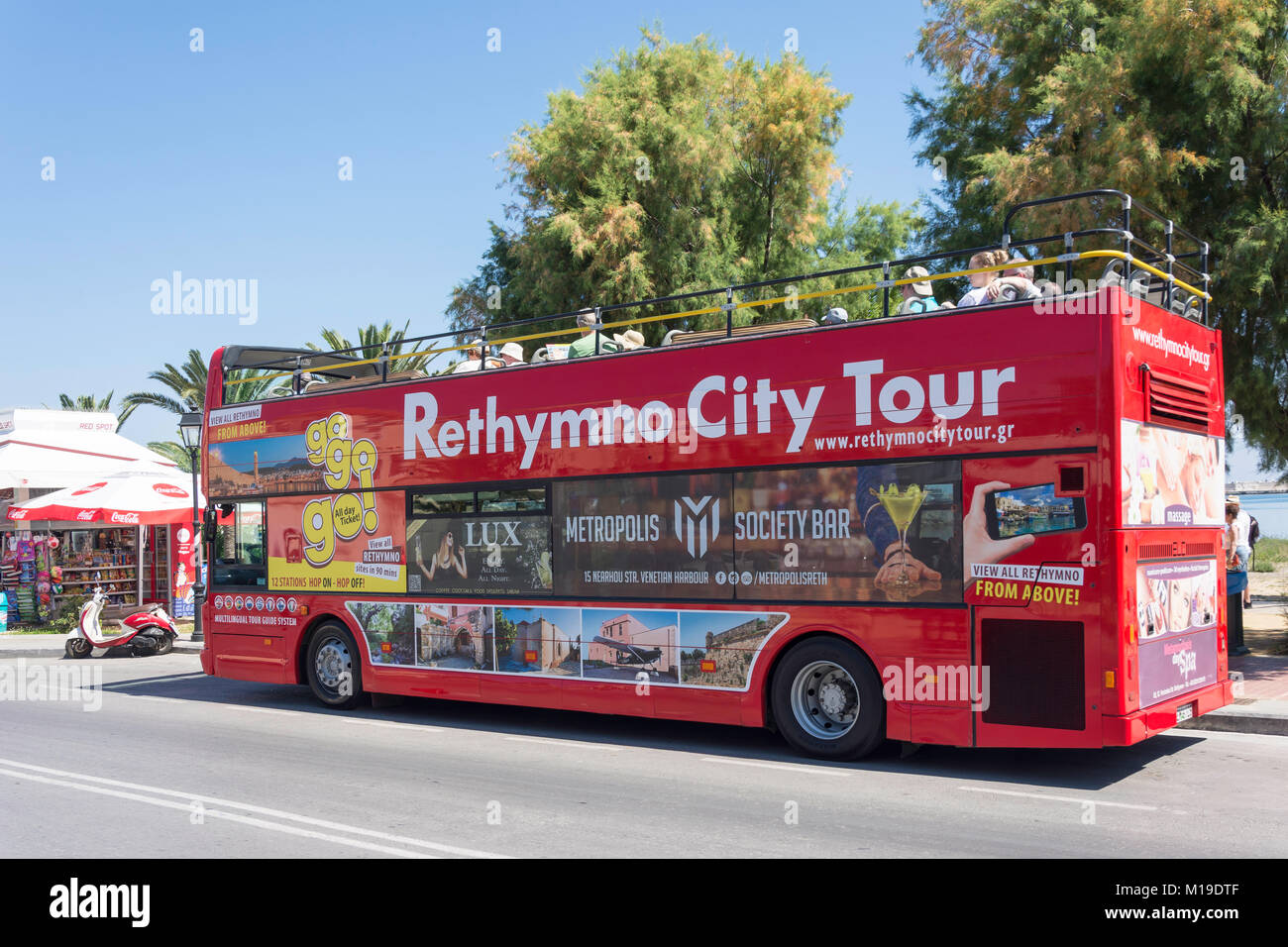 Open-top Rethymno City Tour bus, Sofokli Venizelou, Rethymnon (Rethymno), Rethymno Region, Crete (Kriti), Greece Stock Photo