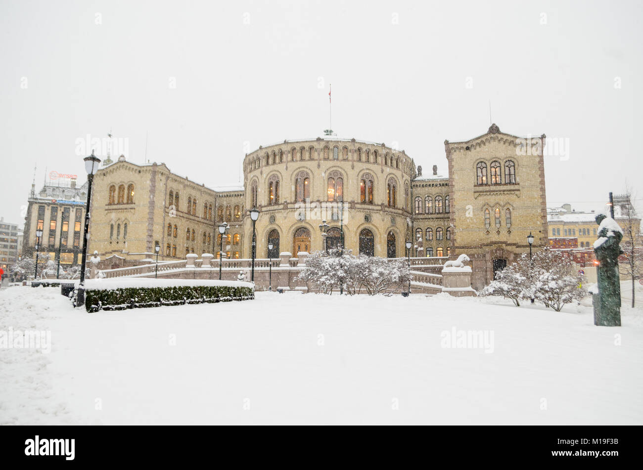 The front of the Storting building, located at 22 Karl Johans gate in central Oslo, Norway. - Stock Image
