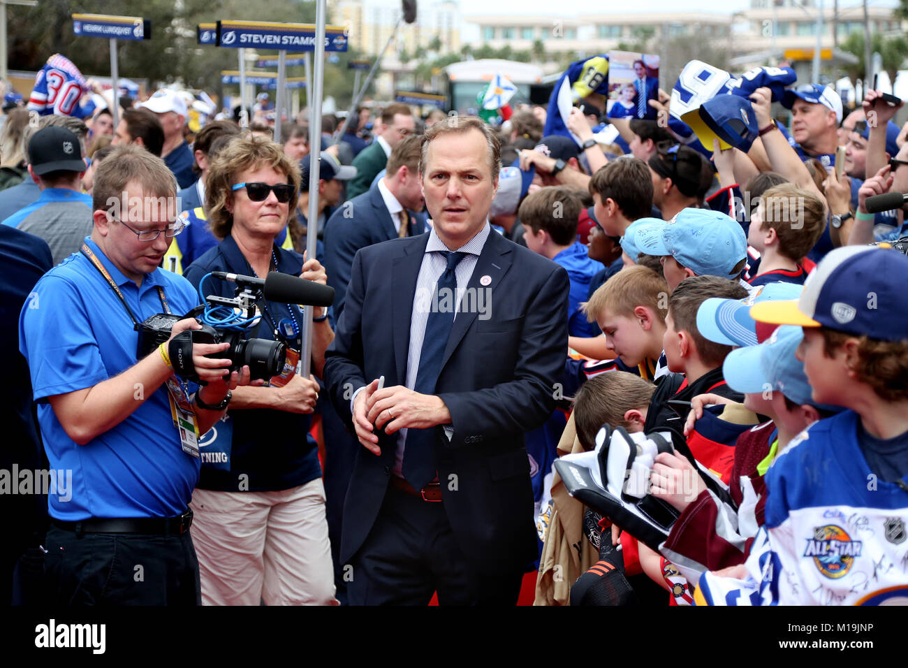 Tampa, Florida, USA. 28th Jan, 2018. DOUGLAS R. CLIFFORD | Times .Tampa Bay Lightning head coach and Atlantic Division Stock Photo