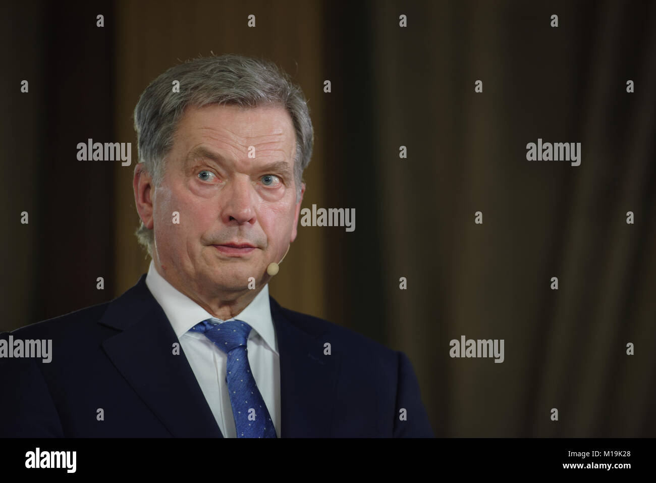 Helsinki, Finland. 28th Jan, 2018. Sauli Niinistö gives short comment on the elections in the House of Estates. - Stock Image