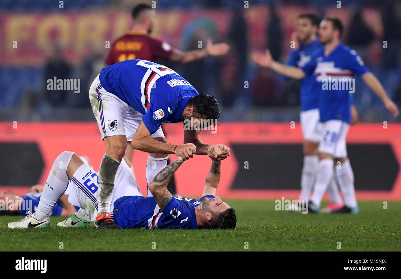 Rome, Italy. 28th Jan, 2018. Sampdoria's Nicola Murru (Bottom) celebrates with teammates after winning the Serie Stock Photo