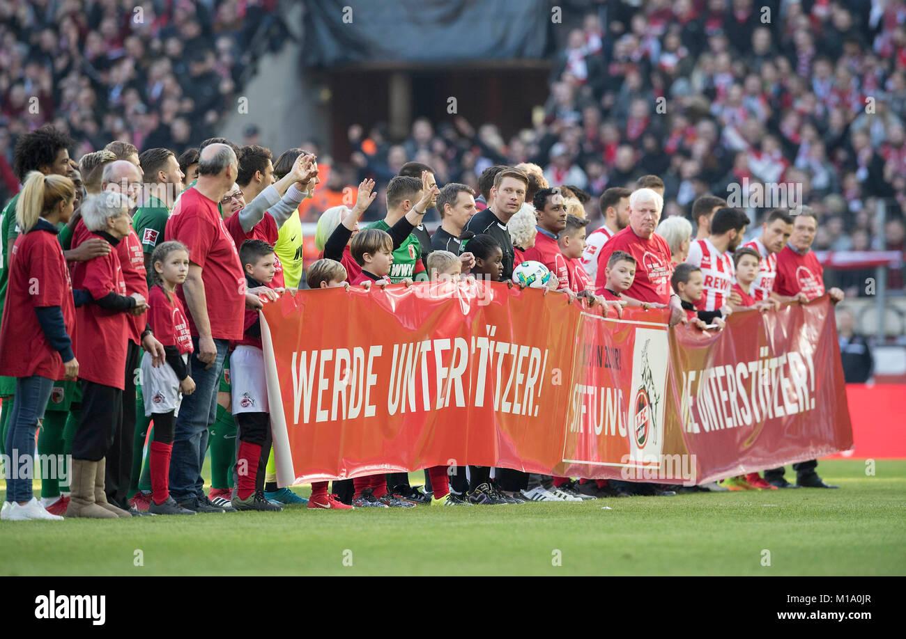 Feature, die beiden Mannschaften und der referee machen Werbung fuer Stiftung des FC Cologne. Fussball 1. Bundesliga, - Stock Image