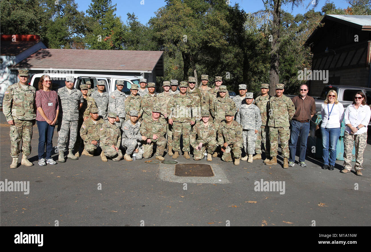 Col.  Robert Spano, fourth from right, chief of staff of the California National Guard, joins members of the 49th - Stock Image
