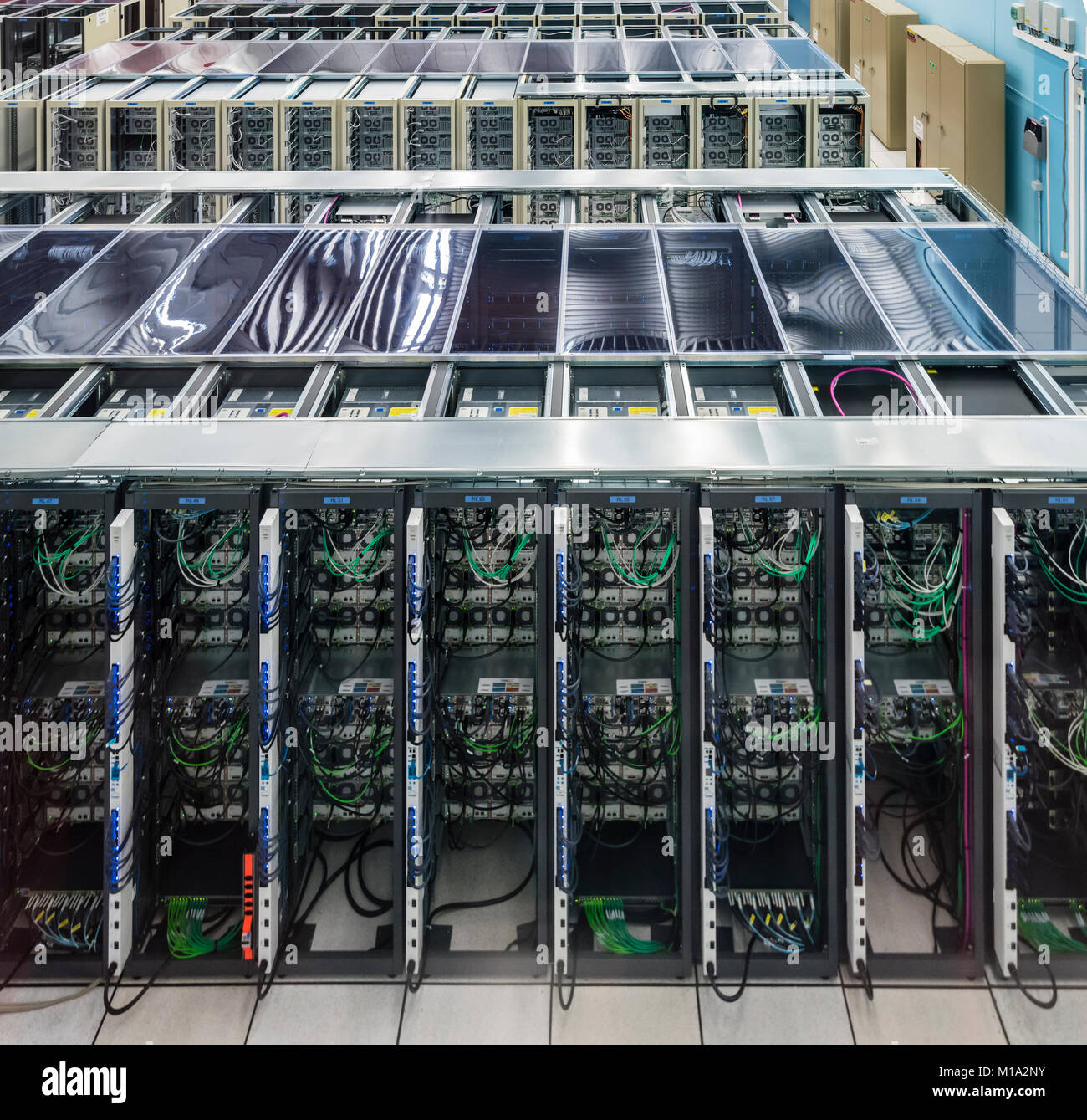 Geneva, Switzerland - 26 Jan 2018: Servers at the data centre of the European Organization for Nuclear Research Stock Photo