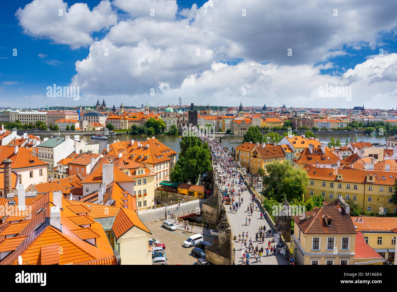 Aerial shot of Charles Bridge (Karluv Most), and the River Vltava, Czech Republic - Stock Image