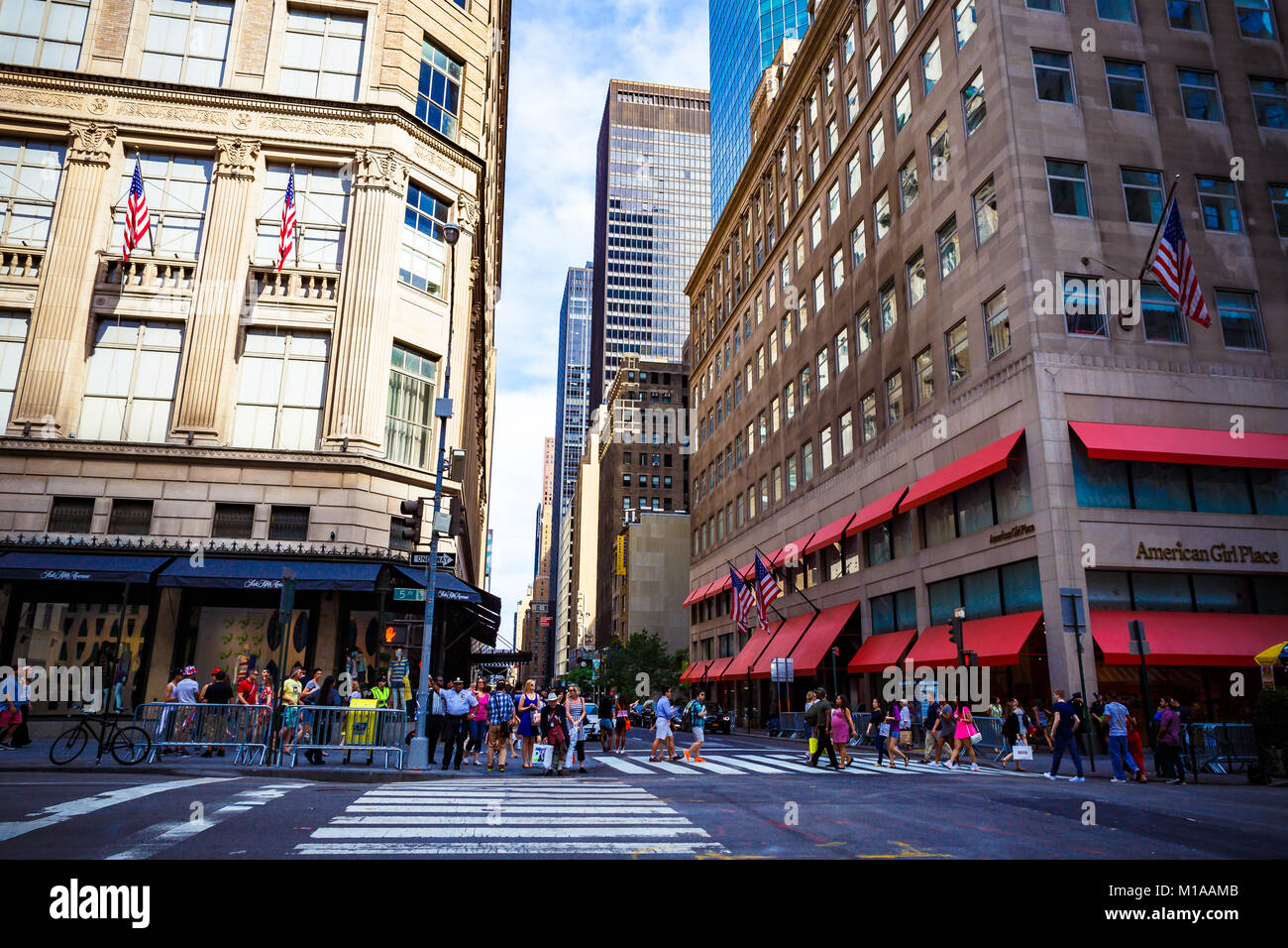 NEW YORK, NY - June 8th, 2014: detail of the 5th Avenue in Manhattan, New York one of the main shopping areas of - Stock Image
