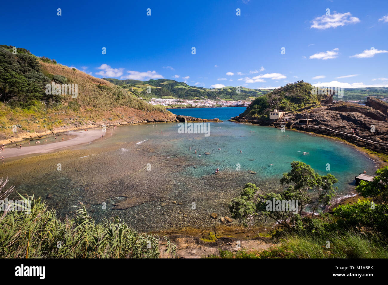 Volcanic crater pool at Reserva Natural do Ilhéu near Vila Franco do Campo on Sao Miguel Island in the Portuguese - Stock Image