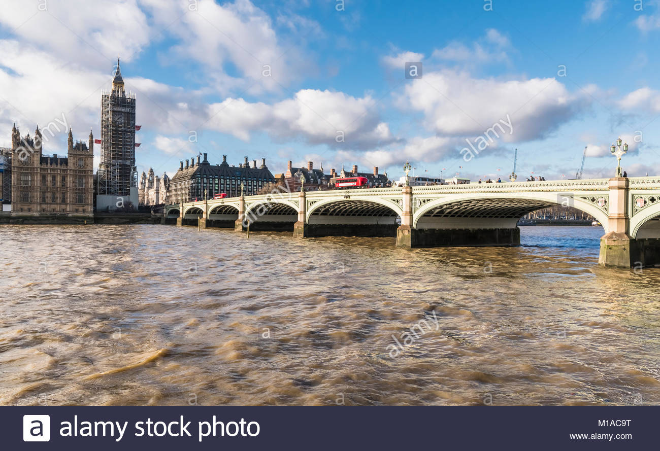 Westminster Bridge looking towards the Palace of Westminster with scaffolding for renovation works in January 2018 Stock Photo