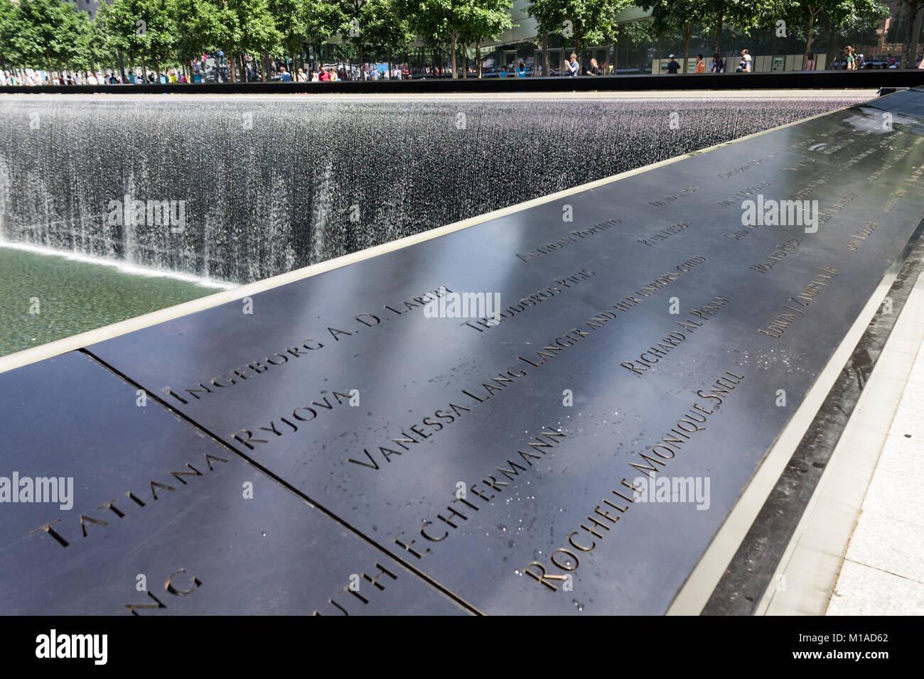 National September 11 Memorial New York City Stock Photo