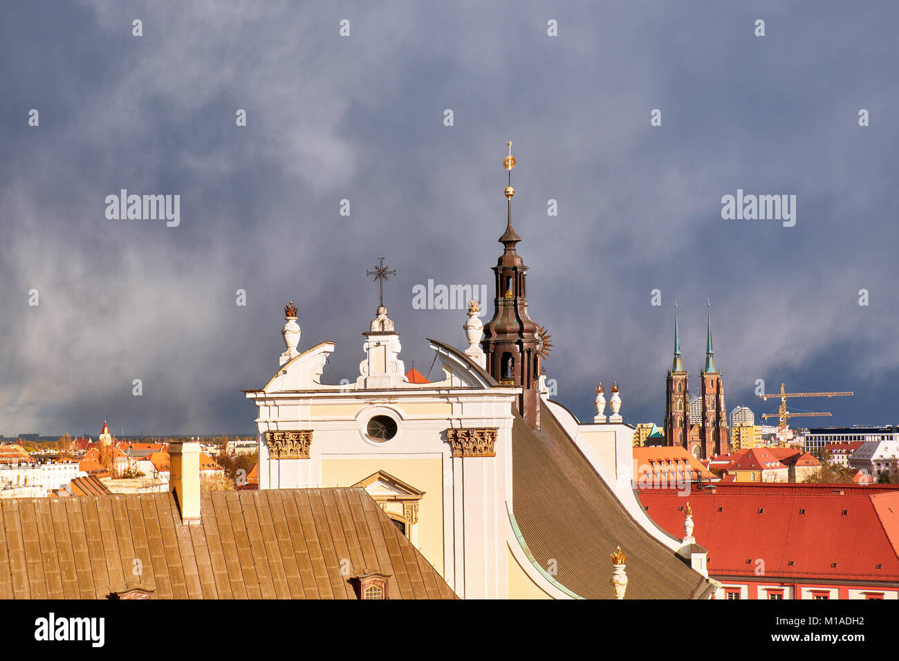 Bird view from the mathematical tower in historical University of Wroclaw. Historical capital of Lower Silesia, Stock Photo
