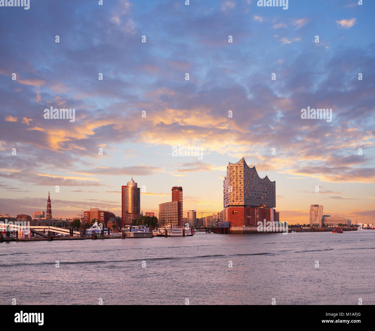HANBURG, GERMANY- AUGUST 12, 2015: Hambirg, view on the Elbe river towards Elbphilharmonie, a concert hall in the - Stock Image