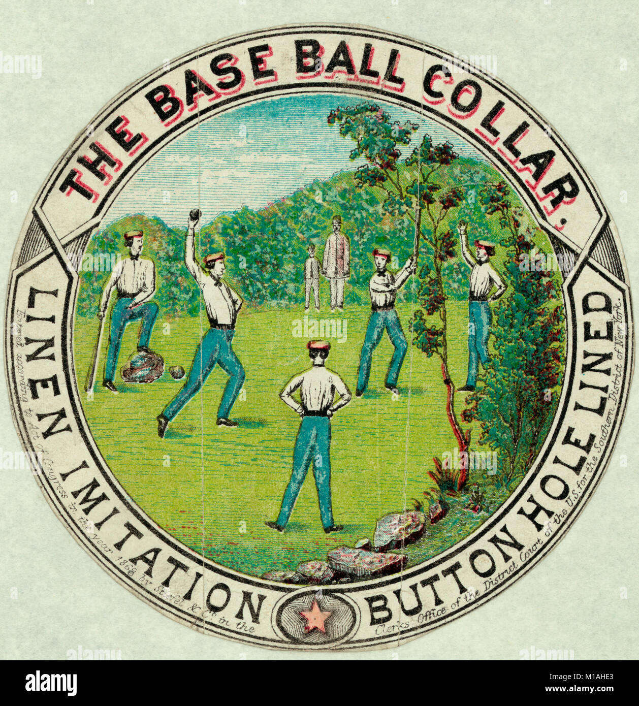 The base ball collar - Men wearing uniforms with collars during baseball game. Advertisement, circa 1869 - Stock Image