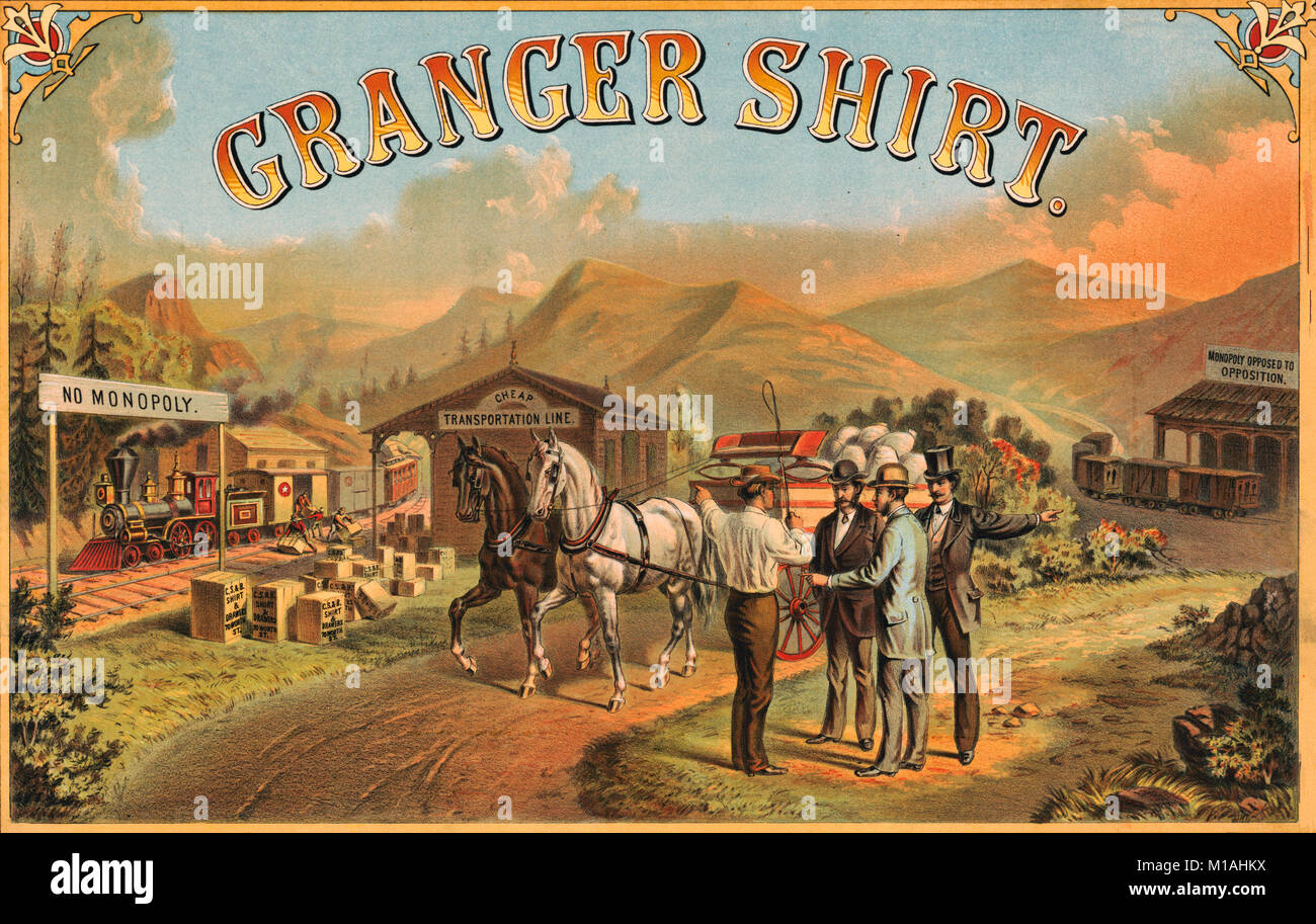 Granger shirt -  Print shows a railroad on the left labeled 'No Monopoly' unloading goods at a station labeled - Stock Image