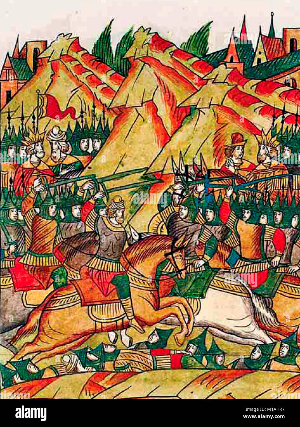 Battle of Kosovo 1389, old Russian miniature