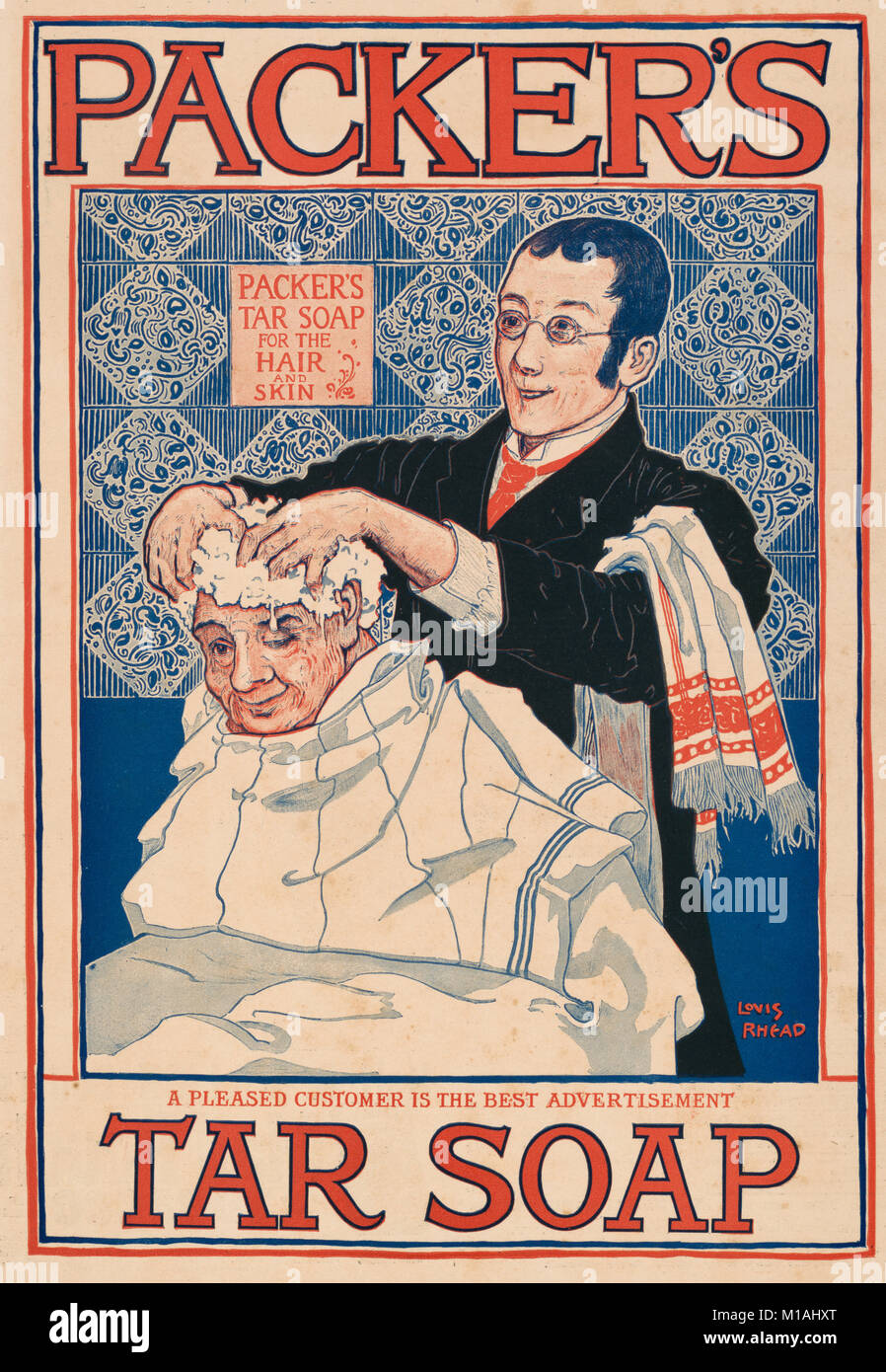 Packer's tar soap Advertisement, circa 1915 - Poster shows a man shampooing another man's hair. - Stock Image
