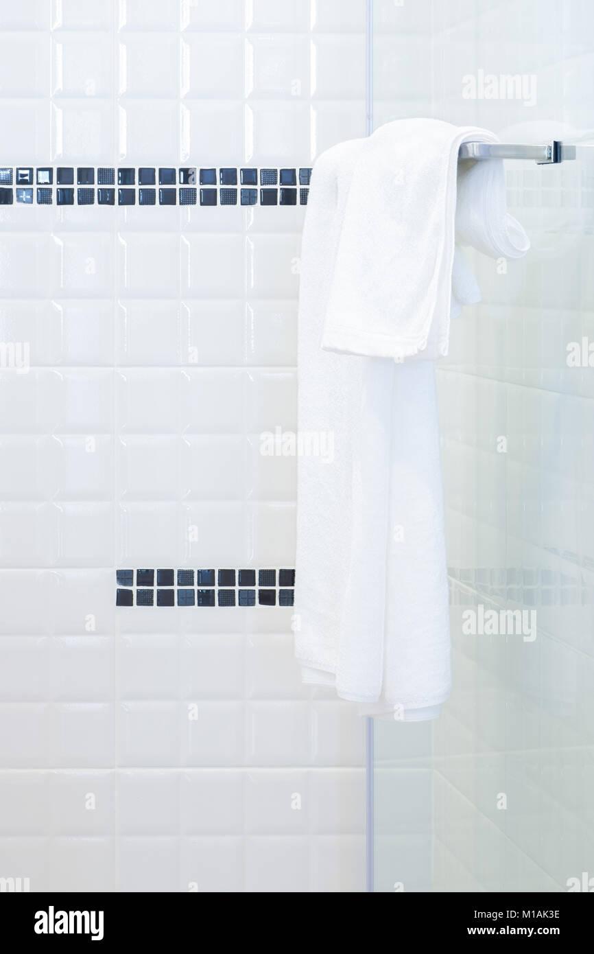 hanging white towel. White Towel Hanging On Rail